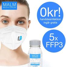 3M 5x CE FFP3 munskydd + GRATIS Handdesinfektion MALM MEDICORUM Skydd Mu