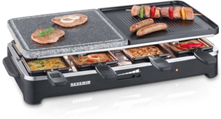Severin Partygrill Raclette & Grillsten, 8 pannor