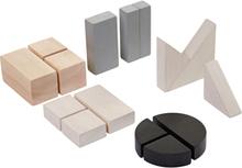 Bråkdels-klossar svart/vit/grå (Plan Toys)