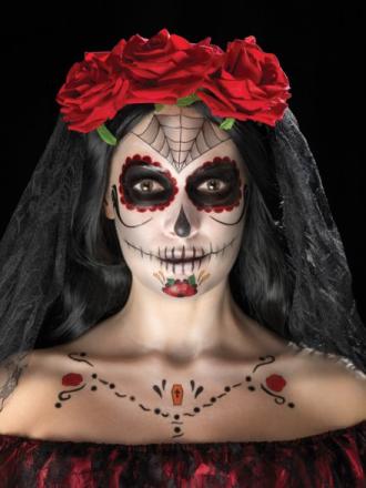 Day of the Dead Sminke- & Tattoos�t Sort/R�d