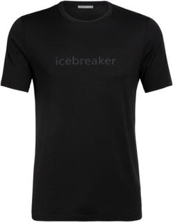 Icebreaker Men's Tech Lite SS Crewe icebreaker Wordmark Herre kortermede trøyer Sort M