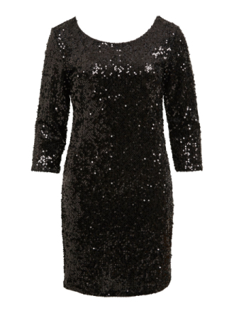 VILA 3/4 Sleeved, Sequin Dress Women Black