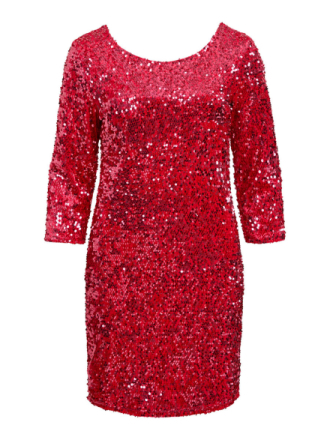 VILA 3/4 Sleeved, Sequin Dress Women Red