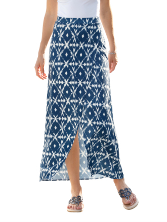 Omslagsskjørt med batikkmønster Dress In Marine