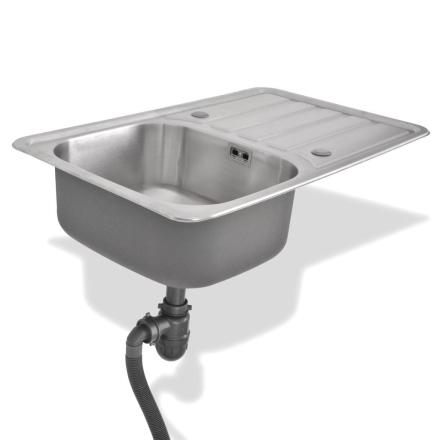 vidaXL køkkenvask med afløb og vandlås rustfrit stål