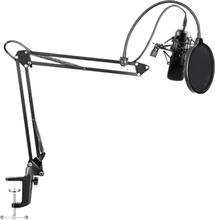 MAONO Streamingpaket, mikrofon, mikrofonarm, pop-filter - svart