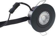 Nordtronic Low Profile Flexible rund 33 indbygningsspot 6W 2700K LED i sort