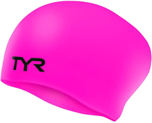 TYR Wrinkle-Free Silicone Long Hair Swimming Cap Barn fluo pink 2020 Badehetter
