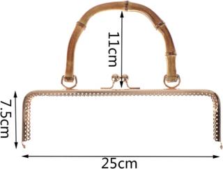 Handväska Kyss Lås Lås Metallram Handväska Lås Lås Bambu Hand