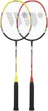 Badmintonset med 3 bollar (lime, röd &amp svart) FUSIONTEC 777K