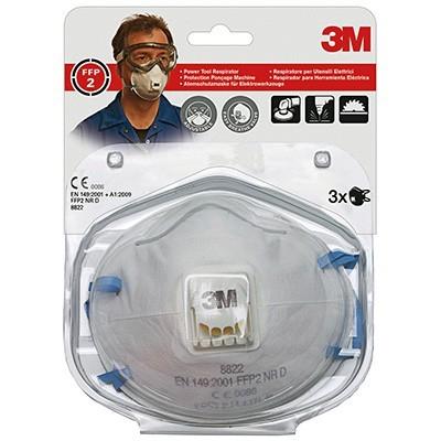 3M støvmaske 8822C FFP2 m/ventil 3pk