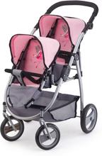 Bayer Dukkevognsett Twins grå og rosa 26508AA
