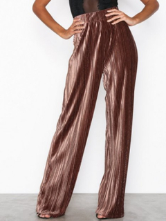 NLY Trend Pleated Velvet Wide Pants Brun