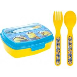 Madpakke med bestik Minions blå / gul 3 stk - wupti.com