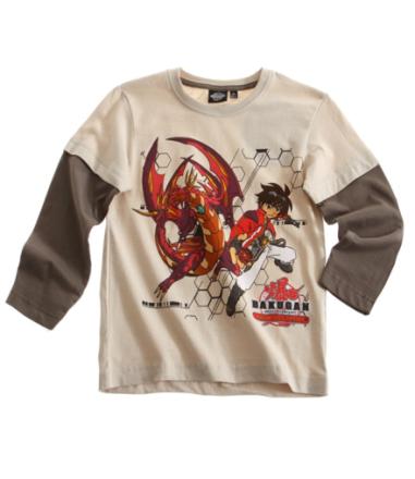 Langærmet t-shirt beige/brun bakugan print - LamaLoLi