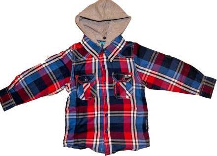 Skjorte blå/rød ternet med grå aftagelig hætte