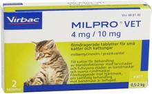 Virbac Milpro vet 4 mg/10 mg filmdragerade tabletter för små katter och kattungar, 2 st