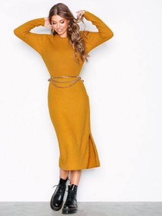 NLY Trend Zip Detail Dress Långärmade klänningar Gul