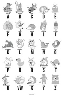 Bloomingville Poster Paper Grey ABC