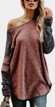 Roststrick-Design-Streifen-Rundhals-Langarm-T-Shirts