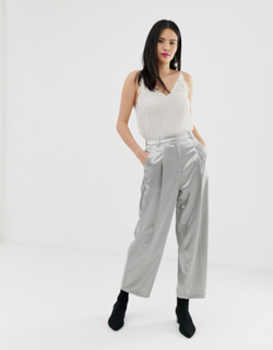 Miss Selfridge straight leg trousers in silver