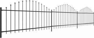 vidaXL Trädgårdsstaket med Spjuttopp (0,75-1)x6 m stål svart