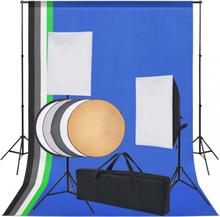 Fotostudiosett: 5 fargerike bakgrunner og 2 softbokser