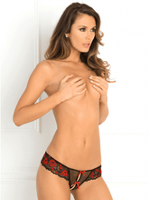 Crotchless Lace Thong With Bows - M/L