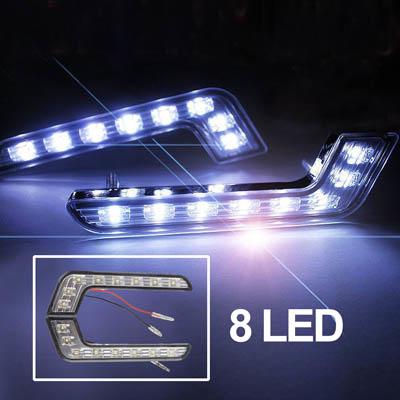 Universell Hvit 8 LED kjørelys for Bil (sort)