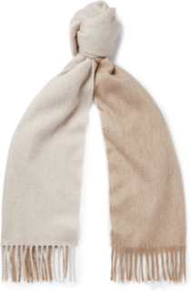 Arran Two-tone Fringed Cashmere Scarf - Neutral