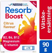 Resorb Boost vätskeersättning Tillför kolhydrater och salter. 90 g