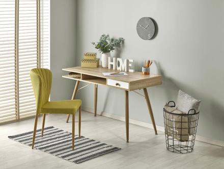 Miriam skrivbord med låda - Ljus ek / Vit