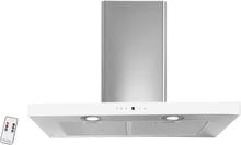 Lyx vägghängd köksfläkt PACIFIC 60cm / 90 cm rostfritt stål+ vit/ svart glas - vit - 90 cm