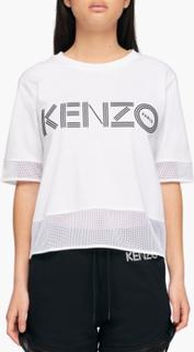 Kenzo - Kenzo Logo Dual Material T-Shirt - Hvid - L
