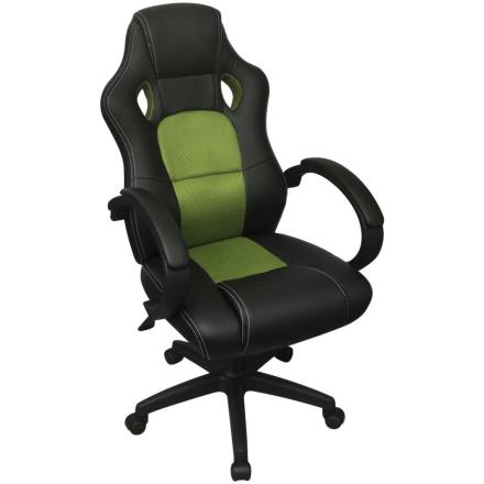 vidaXL Kontorsstol Grön Konstläder