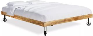 vidaXL Säng med madrass massivt mangoträ 180x200 cm