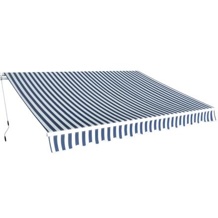 vidaXL foldemarkise manuel betjening 350 cm blå og hvid