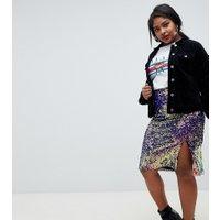 Lost Ink - Pennkjol i plusstorlek i midimodell med regnbågsfärgade paljetter - Flerfärgad
