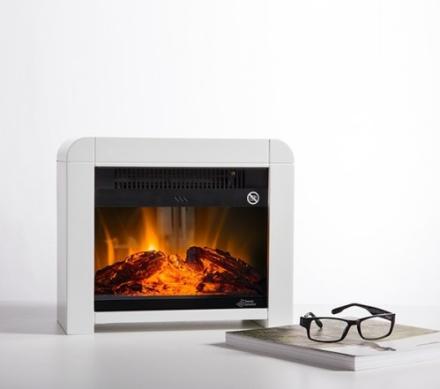 Elektrisk peis - varmeovn 1200W - med flammeeffekter - sort/hvit