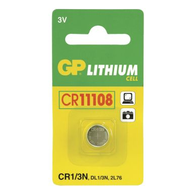 GP BATTERIES GP CR 1/3N-C1 - 3V/160mAh GP-CR11108 Replace: N/AGP BATTERIES GP CR 1/3N-C1 - 3V/160mAh