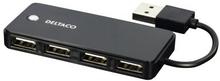 DELTACO DELTACO USB 2.0 hub, 4xType A hun, sort