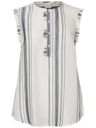 JUNAROSE Striped Sleeveless Top Women White