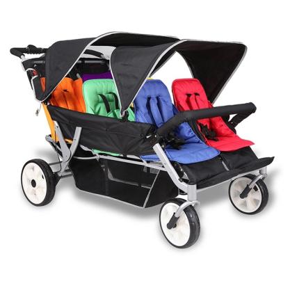 Buss barnevogn med el - motor fra Trille med 6 sitteplasser