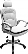 Komfort kontorstol med fleksibel hodestøtte - hvit