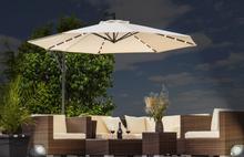 LED parasoll - kremfarget og solcelle Ø300cm