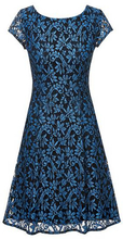 Scoop-neck A-line dress in floral lace