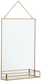 Nordal Spegel med hylla 50x35 cm - Guld