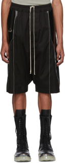 Rick Owens Black Panelled Ricks Pods Shorts