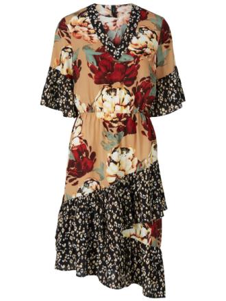 Y.A.S Mixed Midi Dress Women Brown