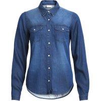 VILA Stone Washed Denimskjorte Kvinder Blå